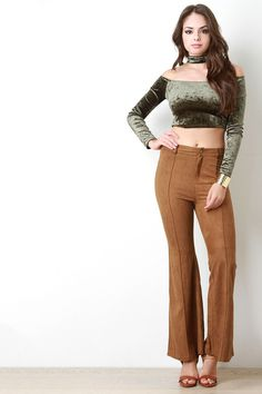 Suede Retro Bell Bottom Pants