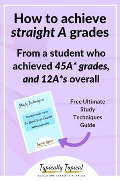 How To Get Straight A's Even if you Don't Attend a Good School from a student who achieved grades, featuring the best study techniques Study College, College Classes, College School, School Fun, College Life, School Life, School Stuff, Best Study Techniques, Study Methods