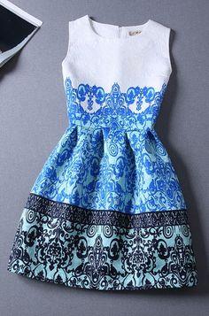 Vintage Jacquard Printed Sleeveless Dress