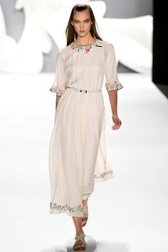 Beautiful. Looks like it is from a Russian fairy tale, modernized with the the fabulous flat sandals. (Carolina Herrera Spring 2013)