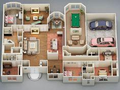 3d floor plan for townhouse.