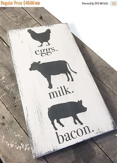 ON SALE Eggs Milk Bacon Sign  Farm Animals  by SorellebyJenn