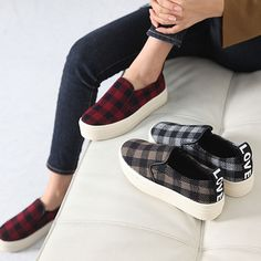 Made In Korea Women's LOVE Check Pattern Slip On Flat Sneakers Napping Lining #DreamTree #LoafersMoccasins #Casual