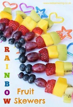 Rainbow Fruit Skewers - Easy recipe for kids with free printable recipe sheet - great for party food picnics and healthy snacks at home