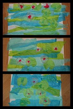 Monet's waterlilies with tissue paper instead of paint. maybe be wiser for a group activity...
