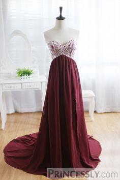 Wine Red Burgundy Chiffon Bridesmaid Dress Prom Dress Strapless Beaded Dress - Bridesmaid Dresses - Wedding Apparel