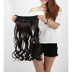 """27""""/29""""/30"""" Straight Wavy Curly 3/4 Full Head One Piece 5clips Clip in Hair Extensions Long Poplar Lady Style for Gifts Many Colors (27""""-Curly, Dark Brown) * Learn more by visiting the image link. (This is an affiliate link and I receive a commission for the sales) #HairCare"""