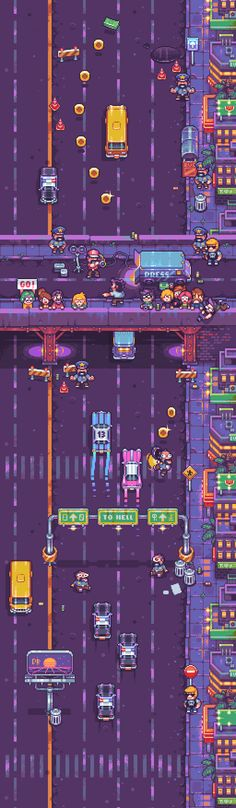 city road top-down game sprites scene Pixel Art Gif, How To Pixel Art, Pixel Art Games, Game Design, Design Art, Rpg Maker, Pixel City, Top Down Game, Dots Game