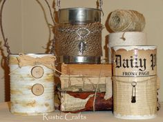 recycled can caddies, crafts, decoupage, repurposing upcycling