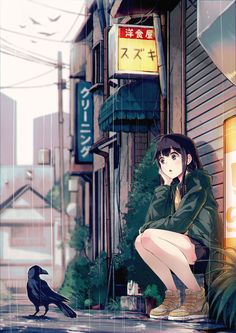 you're getting wet, crow dude. ;P 雨宿り - Illustrations de la semaine #067 - http://go.shr.lc/1A4ylif #illustration