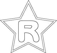 Letter R in star bubble  letter coloring page