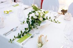 Green and white table decor..
