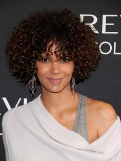 Halle Berry Hairstyle Super Charming Afro Medium Curl Lace Front Wig