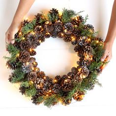 Easy & long lasting DIY pinecone wreath: beautiful as Thanksgiving & Christmas decorations & centerpieces. Great pine cone crafts for fall & winter! - A Piece of Rainbow Christmas Planters, Christmas Mason Jars, Outdoor Christmas Decorations, Christmas Centerpieces, Christmas Projects, Christmas Crafts, Centerpiece Decorations, Christmas Stocking, Fall Crafts