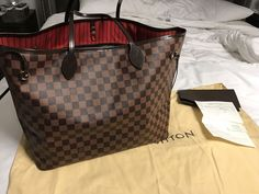 ec61d3231865 Authentic Louis Vuitton Neverfull GM Shoulder Tote Hand Bag Damier Brown  Red  fashion  clothing