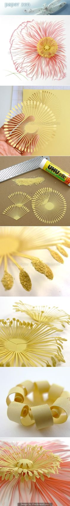 Quilling and laser cut combined for wonderful pollen effect! Quilling Instructions, Quilling Tutorial, Quilling Paper Craft, Quilling Flowers, Kirigami, Handmade Flowers, Diy Flowers, Paper Flowers, Quilling Patterns