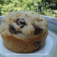 Peanut Butter Chocolate Chip Muffins from www.chocolatechocolateandmore.com #muffins #peanutbutter #chocolatechips