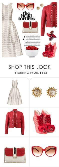 """Head turners"" by pensivepeacock ❤ liked on Polyvore featuring Mary Katrantzou, Schiaparelli, Fendi, Sophia Webster, Valentino and The Cellar"