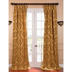 Dress up any room with this faux silk curtain panel that is lined to help keep cold air out and warm air in. This gold-and-bronze French-pleated panel has an all-over textured pattern and gives you the look of silk without the high price tag.