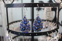 Blue Patterned Earrings