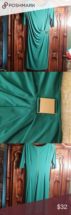 Tahari Dress Tahari Dress, Jersey material. Dress has rouching in mid section adorned with a gold buckle for a more slendering look. This perfect for a brunch, or evening out. Worn 2x, meticulously laundered via dry cleaning. Color is Jade green, sz 8. Tahari Dresses Midi