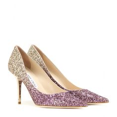 Jimmy Choo - Agnes glitter pumps - Jimmy Choo's classic 'Agnes' pumps are updated in a glitzy ombré effect with gold-tone and pink-hued glitter. We love the party-ready finish and are wearing ours with an LBD to let this dazzling pair take centre stage. seen @ www.mytheresa.com