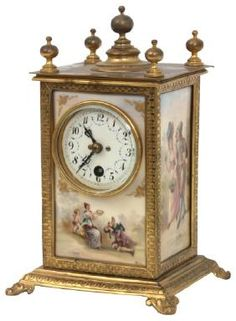 Porcelain And Bronze Mantle Clock