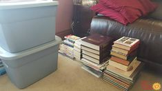 Decluttered books from attic {featured on Home Storage Solutions 101}
