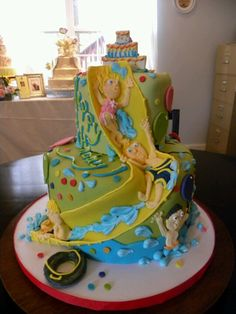Neat swimming party cake