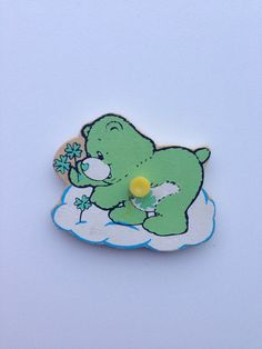 Vintage puzzle piece magnet/ Care Bear/Goodluck Bear by Uber2Cute, $4.50