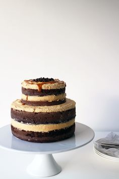 Exposed Chocolate, Coffee and Caramel Layer Cake   Made From Scratch