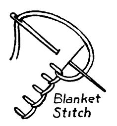 blanket stitch - work from left to right. Draw thread through at desired distance from edge. Hold thread at left & toward you. Thrust needle through at desired depth and draw toward you passing it over thread. Draw up until purl of thread lies along the edge. Keep stitches evenly spaced.