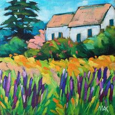 """Daily Paintworks - """"Country Lupines"""" - Original Fine Art for Sale - © Mary Anne Cary Small Canvas Paintings, Canvas Art, Abstract Landscape, Landscape Paintings, Canadian Art, Impressionist Paintings, Fine Art Gallery, Love Art, Art Lessons"""