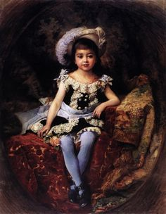 Portrait of a Girl Wearing a Hat with an Ostrich Feather (detail), by Konstantin Makovsky 1870s Fashion, Good Vibe, Academic Art, 19th Century Fashion, Wearing A Hat, Victorian Art, Victorian Paintings, Fashion Painting, Painting For Kids