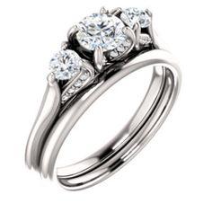 14K White 5.2mm Round Three-Stone Engagement Ring Mounting