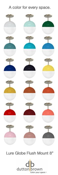 "Combining simple globe pendant design with bold color is an easy, cost-effective way to make your own statement in a space. With 19 colors available on our Lure Globe Flush Mount 8"", there's a color for every space. Don't want a flush mount? Add one of our rods to drop the fixture down a bit."