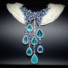 Scavia Brunilde necklace: precious drops of Paraiba tourmaline, beads of blue sapphires, pearls, diamonds and white gold, by Trucchi