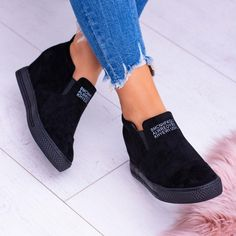 Fashion Letter Slip On Wedge Sneakers Faux Suede  840de69662b