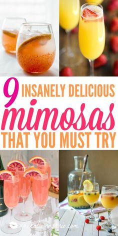 I love brunch! I am so excited to try all of these delicious mimosa recipes for ., I love brunch! I am so excited to try all of these delicious mimosa recipes for my next big brunch with the girls. Brunch Drinks, Cocktail Drinks, Fun Drinks, Mimosa Brunch, Mimosa Bar, Beverages, Breakfast Alcoholic Drinks, Brunch Menu, Lemonade Cocktail