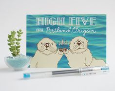 HIGH FIVE from Portland postcards  sea otters PDX by AlissaThiele