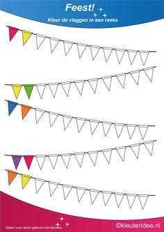Kleur de vlaggen in een reeks 3, thema feest voor kleuters, juf Petra van kleuteridee, te gebruiken bij kinderboekenweek 2014, Color the flags, free printable.