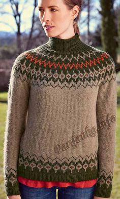 Пуловер с вставкой жаккард (ж) 150 Creations 15/16 Bergere de France №4671