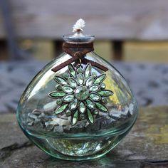 Crystal Daisy Tiki Torch Oil Lamp by ShopPrettyPatina on Etsy