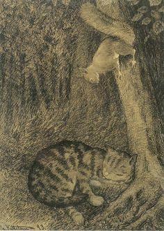Norwegan artist Theodor Kittelsen (1857-1914) - Cat and Squirrel (1893)