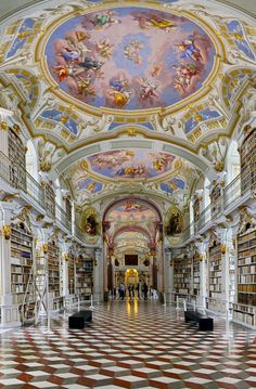Baroque Library Admont Abbey in Styria, Austria: the biggest library of a monastery in the world. A baroque jewel and it was called the 8th world wonder ..