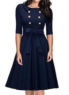 e9f7c096dd1b Miusol Women s 3 4 Sleeve Classy Casual Belted Vintage Retro Evening Swing  Dress Fashion Hacks