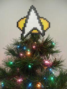 Star Trek Perler Bead Christmas Tree Topper by LighterCases