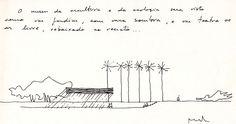 O museu da escultura e da ecologia será visto como um jardim, com uma sombra, e um teatro ao ar livre, rebaixado no recinto ...