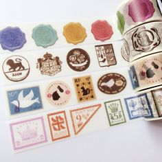 Happy Mail & Stamps Washi Tapes Sample Set  4 by ccsharetape, $5.00