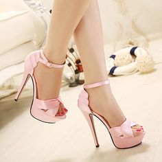 Elegant Pink Stiletto High Heel Peep Toe Sandals